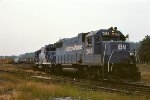 B&M GP38s 206 and 208 pause before heading out